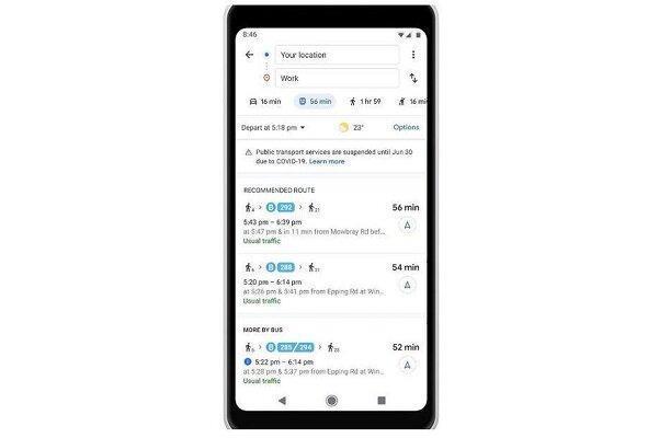 خدمات مسیریابی گوگل بر مبنای اثرات کرونا به روز شد